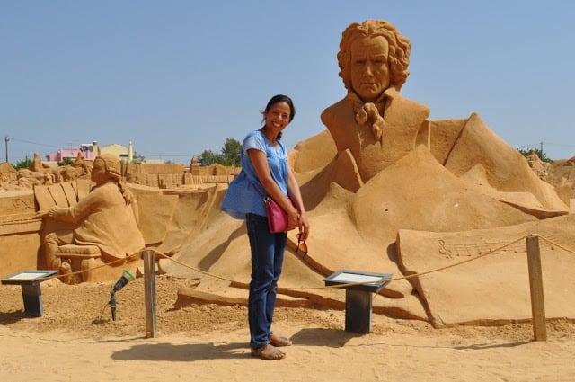Mozart e Beethoven em areia