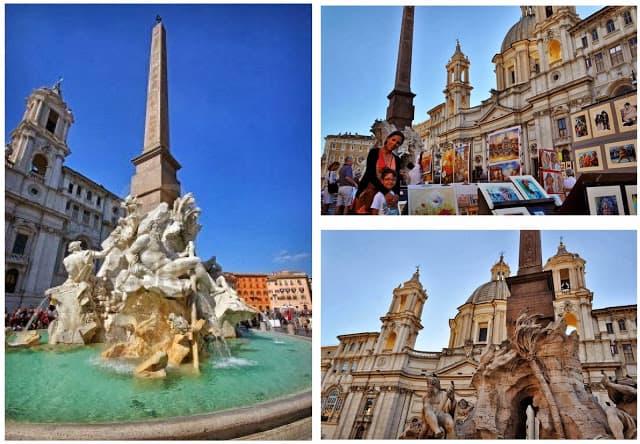 Piazza Navona, com mais uma fonte de Bernini