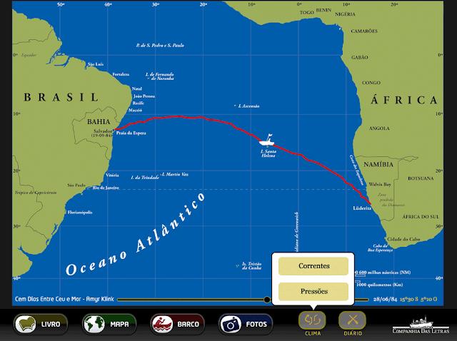 rota entre a Namíbia e a Bahia feita pelo autor