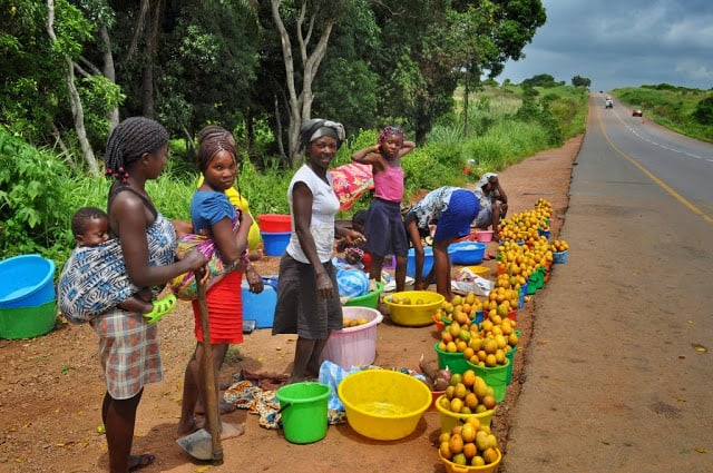 mulheres vendem fruta na estrada para Malange