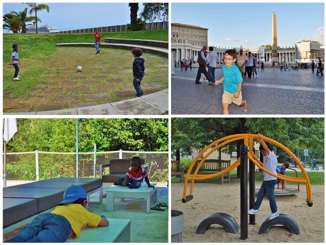 Crianças a brincarem em várias partes do mundo