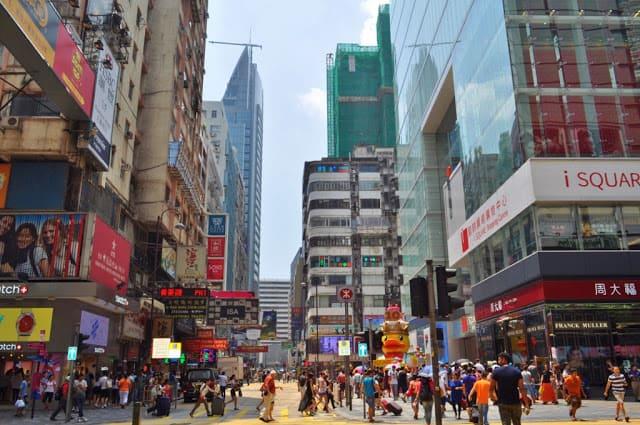 Ruas de Kowloon em Hong Kong