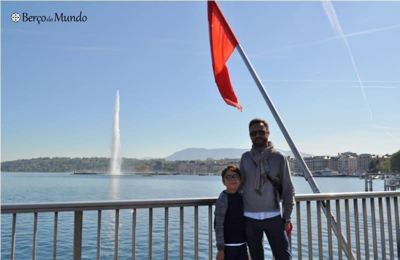 jato de água no lago de Genebra